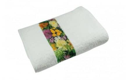 Werbeartikel Handtuch mit bedruckter Polyester Bordüre